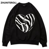2021 harajuku broken heart embroidery crewneck sweatshirt hip hop fashion tracksuit men hoodies punk couple black top clothes