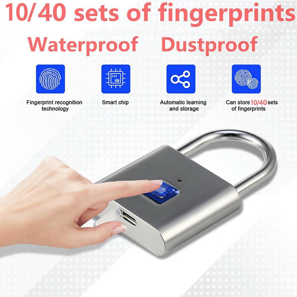 Novo bloqueio de impressão digital inteligente cadeado thumbprint porta cadeado portátil anti-roubo fechadura de impressão digital para saco mala de gaveta
