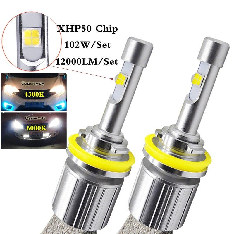 Lâmpada para farol automotivo led, h7, 104w, 4300 lúmens, xhp50, 6000k, k, h1, h3, h4 9012 h11 hb3 hb4 h8 880 d1s d2s luz de neblina