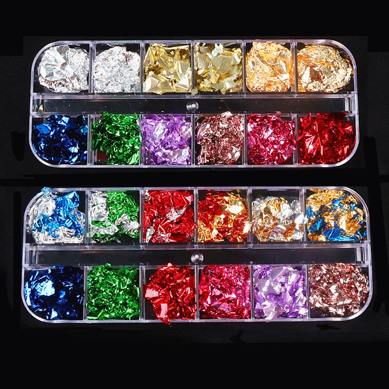 1pcs colorful foil plants 12Grid Gold Foil Resin Filler Colorful Foil Diy Nail Art Decor Crafts Epoxy Resin Mold Fillings Jewelry Making Mold Accessories
