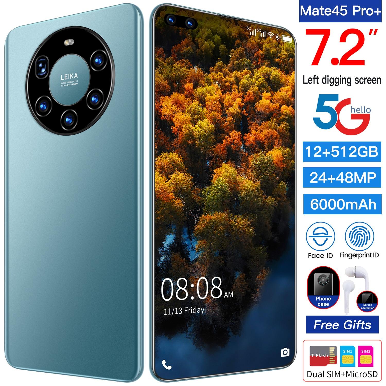 هاتف Mate45 Pro إصدار عالمي 2021 بشاشة كاملة 7.2 بوصة هاتف ذكي ثماني النواة 24 ميغا بيكسل + 48 ميغا بيكسل 12 جيجا بايت 512 جيجا بايت شبكة 4G LTE 5G هاتف محمول