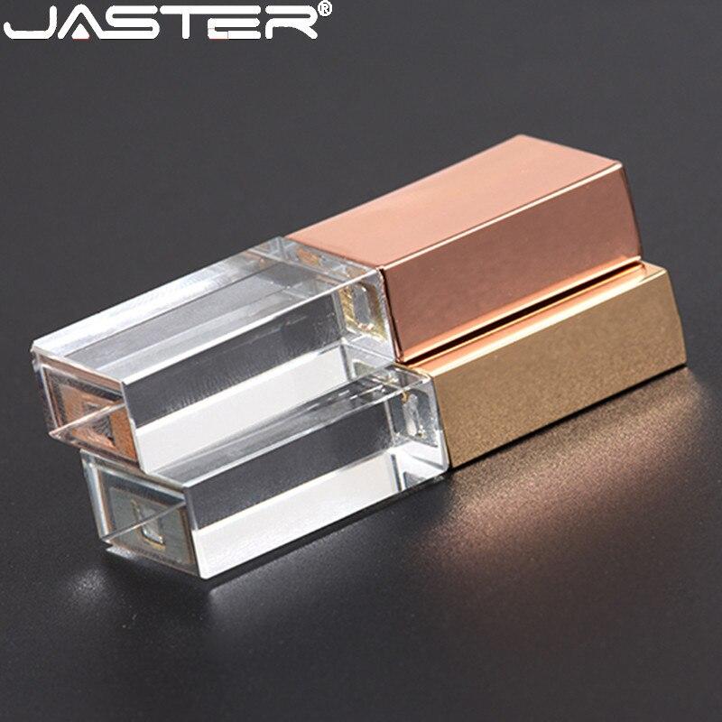 JASTERS de cristal usb 3D imprimir logotipo personalizado USB 2,0 4GB 8GB 16GGB GB 32GB 64GB 128GB memoria flash usb disco de vidrio transparente