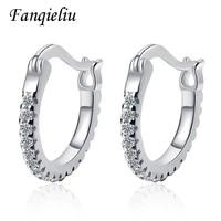 fanqieliu solid 925 sterling silver circle wedding jewelry crystal hoop earrings for women fql20507