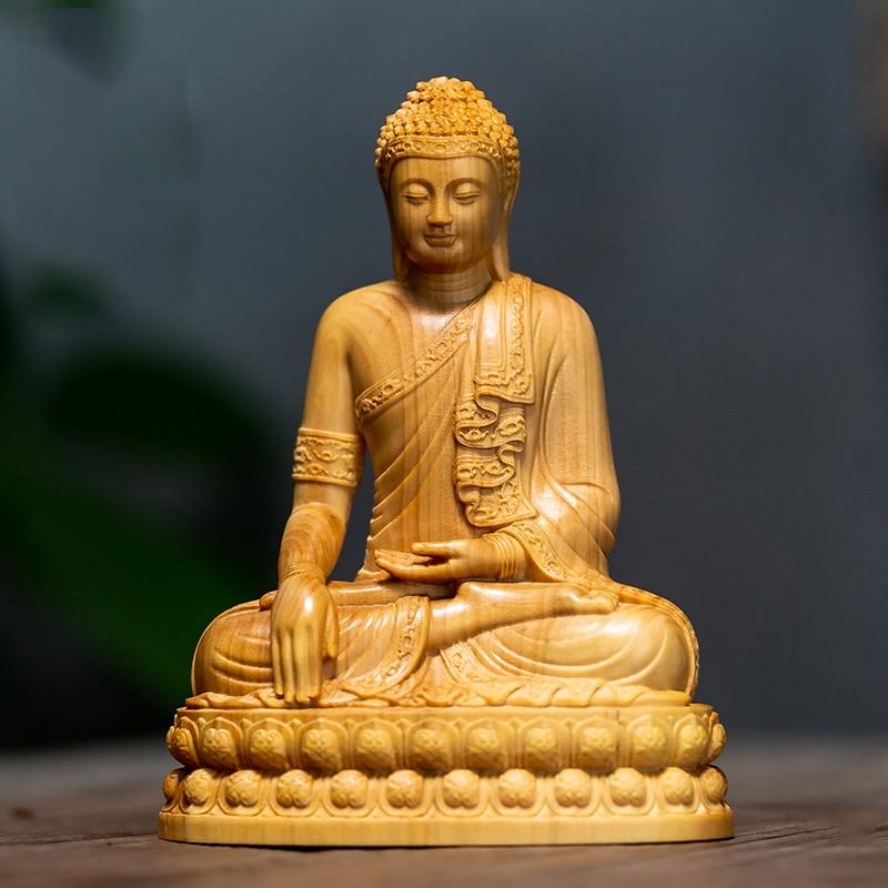 تماثيل خشبية صغيرة بوذا شاكياموني من تايلاند ، 10 سنتيمتر ، هدايا ، تماثيل بوذا ، مجموعة تزيين المنزل ، الحلي