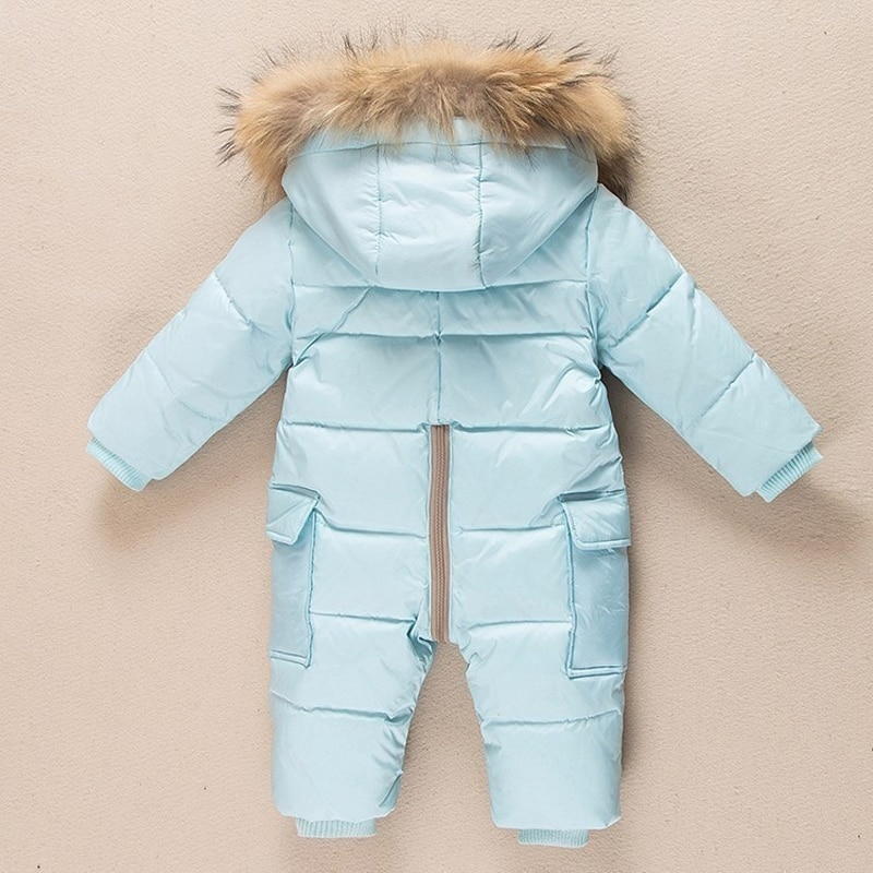 2021 Russia Winter Baby Jumpsuit Kids Thicken Warm Overalls for Children Toddler Boys Down Parka Coat Girls Fur Collar Ski Suit enlarge