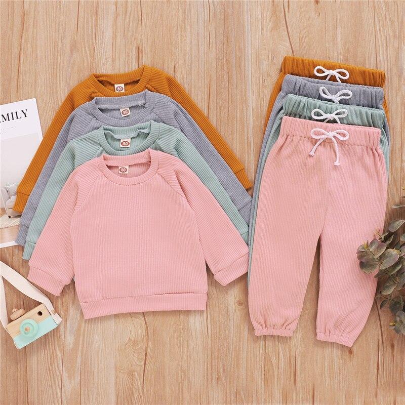 Meninas conjuntos de roupas outono da criança dos meninos roupa crianças treino para meninas com nervuras de malha t-shirts calças crianças roupas
