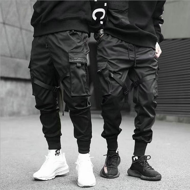 Ribbons Harem Joggers Men Cargo Pants Streetwear 2021 Hip Hop Casual Pockets Cotton Track Pants Male