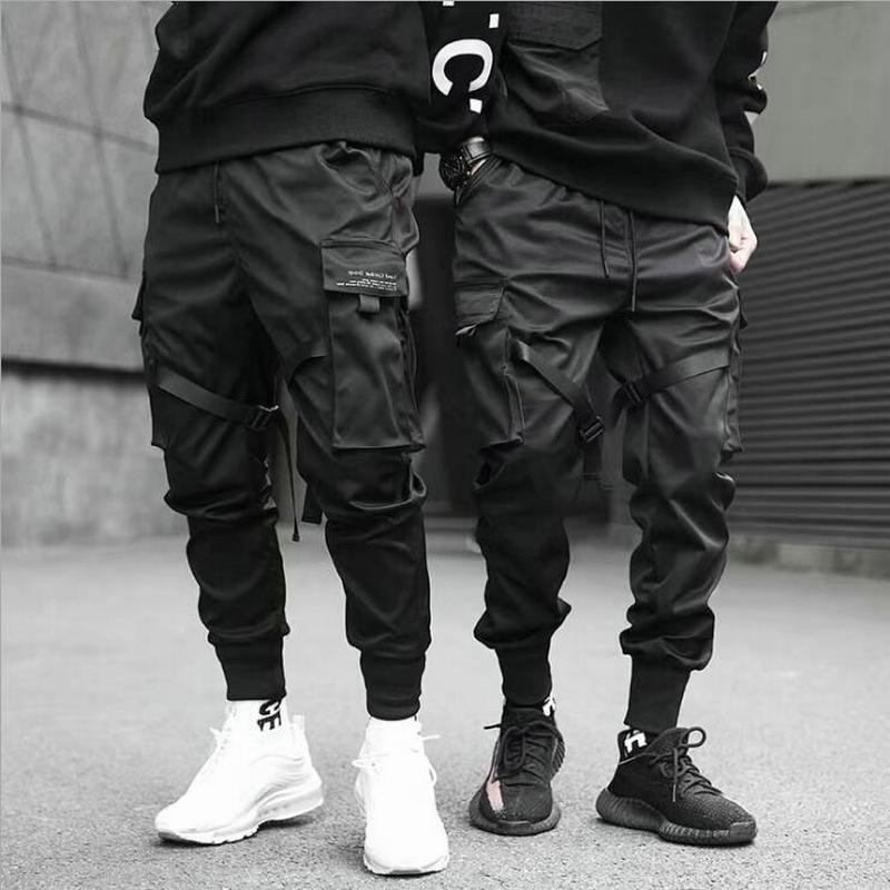 Ribbons Harem Joggers Men Cargo Pants Streetwear 2021 Hip Hop Casual Pockets Cotton Track Pants Male Harajuku Fashion Trousers