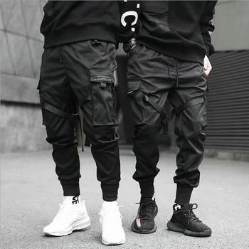 Rubans Sarouel Jogging Pantalon Cargo Homme Streetwear 2021 Hip Hop Décontracté Poches Pantalons De Survêtement En Coton Hommes Harajuku Mode Pantalons