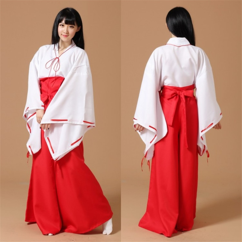 Japonês kimono samurai roupas halloween festa uniforme conjunto completo anime inuyasha psíquico kikyo quimono cosplay traje tamanho S-XL