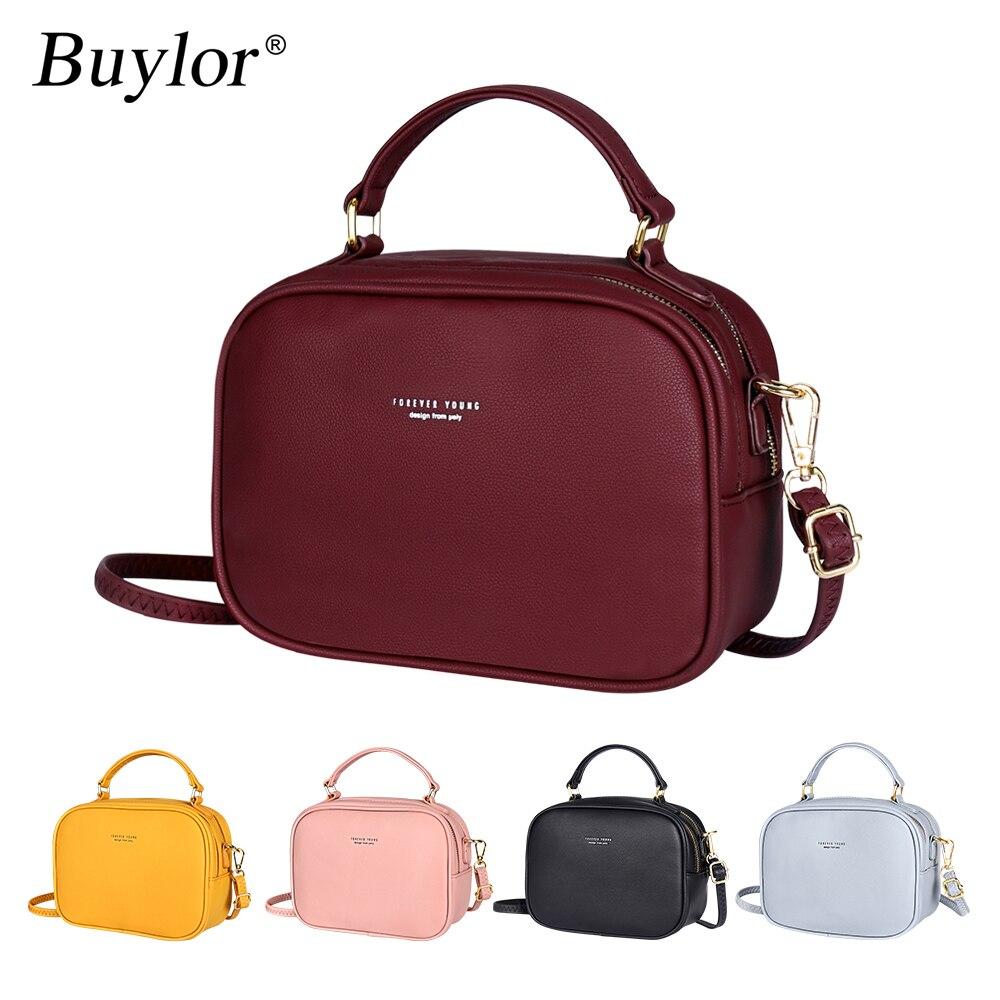 Buylor Fashion Crossbody Bag PU Leather Zipper Simple Luxury Shoulder Bag Women High Quality Handbags Ladies Messenger Bag For G