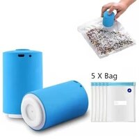 mini usb automatic compression vacuum pump househoud sealer clamp snack fresh food rod strip kitchen tool with 5pcs recycle bag