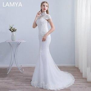 LAMYA Lace Appliques Mermaid Wedding Dresses Cap Sleeve Bridal Gown Court Train Wedding Dress Vestidos De Noiva Princess Lace up