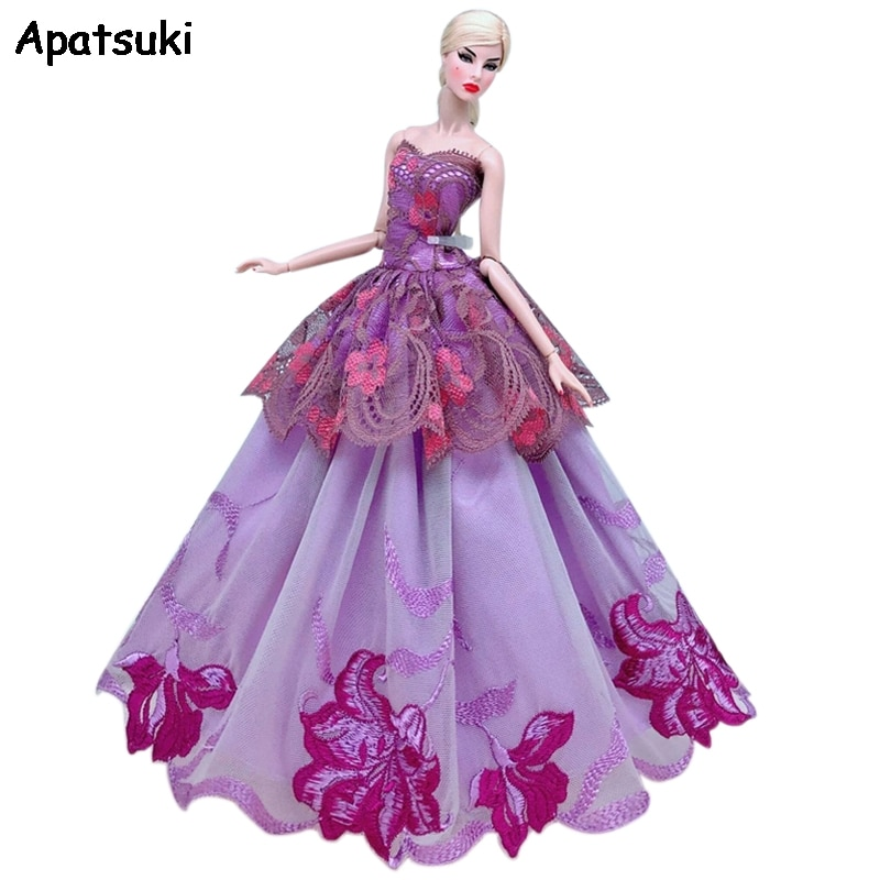 Purple Lace Floral Wedding Dress For Barbie Doll Clothes Multi-layer Outfits Party Gown For 1/6 BJD Dolls Accessories Toys