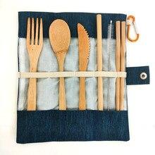 Chaud 6 pièces écologique Portable bambou ensemble de couverts couverts ensemble ustensile biodégradable vaisselle ensemble couteau fourchette cuillère en bois