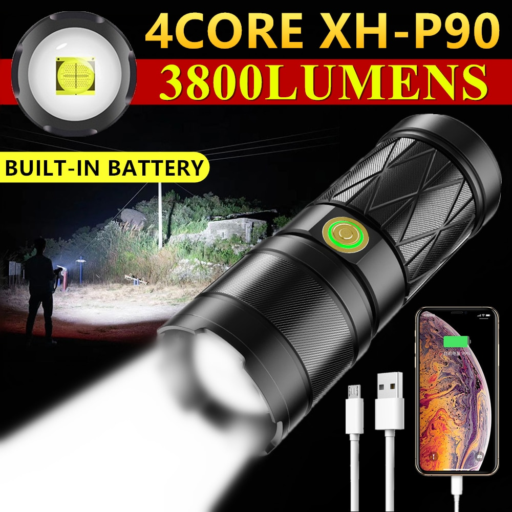CREE XHP50/P70/P90 LED Powerful Flashlight 3800LM USB Charging Zoomable Tactical Torch 6600mAh Outdoor Camping Hunting Lantern 3800lm cree t6 self defense safety hammer multi function outdoor survival usb solar energy rechargeable flashlight torch lantern