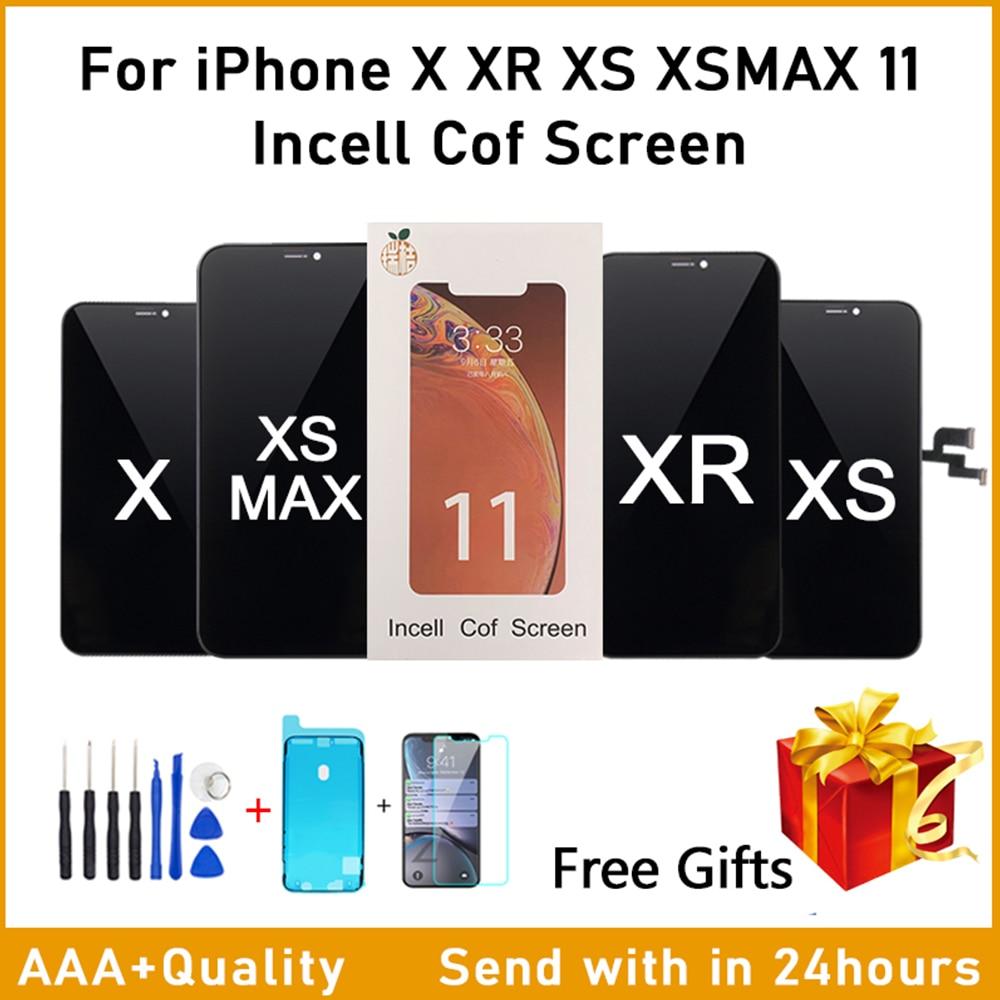 AAA RJ Incell شاشة آيفون X LCD لا الميت بكسل مع ثلاثية الأبعاد تعمل باللمس محول الأرقام الجمعية آيفون X XS XR XS ماكس 11Pro مع هدية