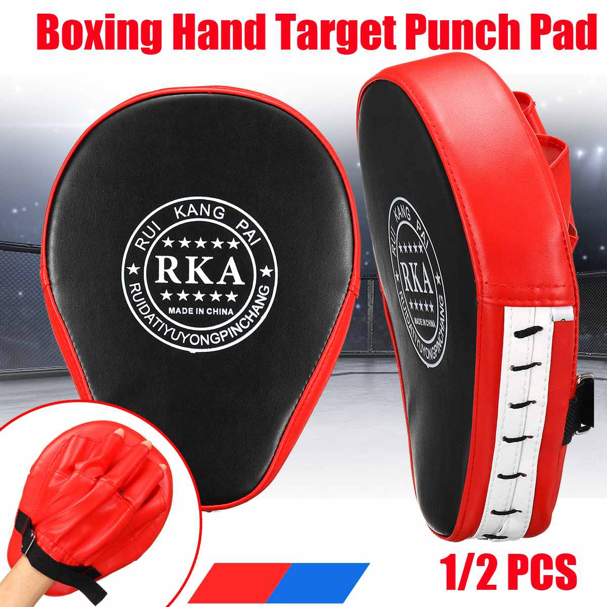 2PCS Punching Bag Boxing Pad Sand Bag Fitness Taekwondo MMA Hand Kicking Pad PU Leather Training Gea