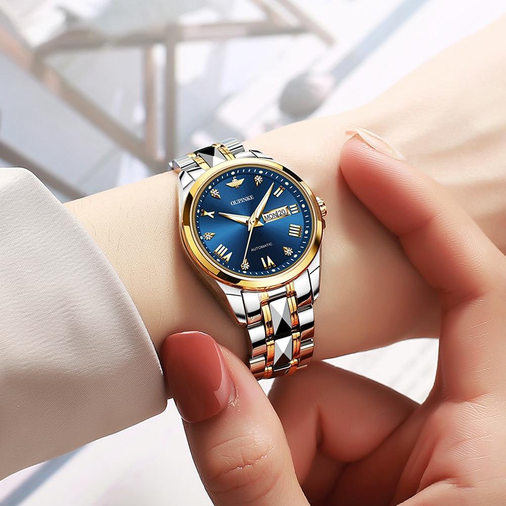 OUPINKE  Women Switzerland Luxury Diamond Scale Tungsten Steel Strap Mechanical Watch enlarge