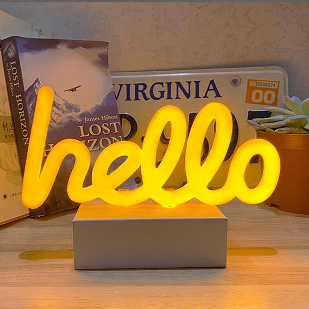 Mini Hello Neon LED Light Plastic Table Night Light Art Decorative Lights Decoration for Kids Baby Room Express  Gift