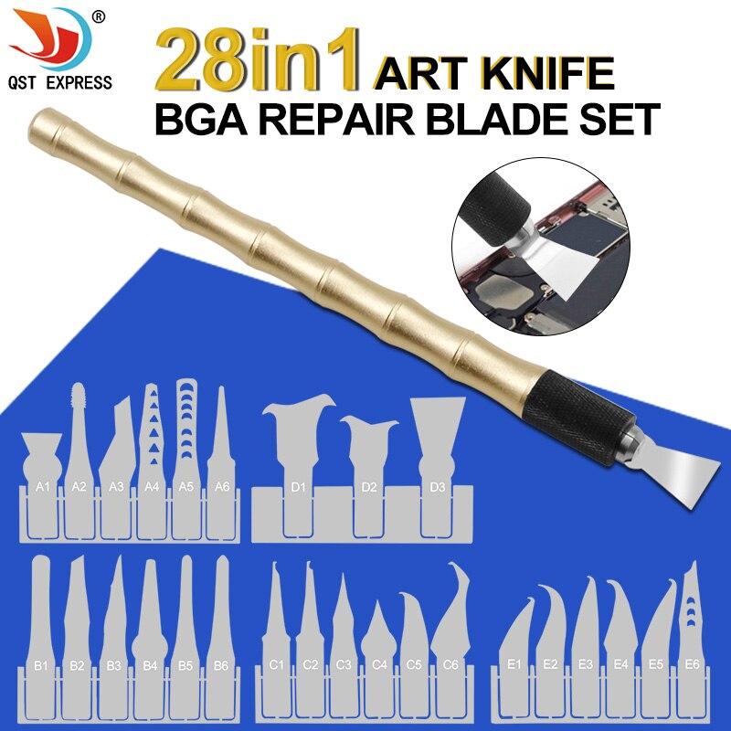Double Usage Poignée Avec 27 pièces Couteaux Artisanat Couteau De Coupe BRICOLAGE Couteau CPU Puce BGA Supprimer Outil Levier Couteau Pour Mobile