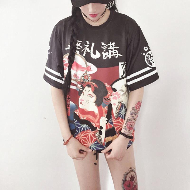 Camiseta japonesa de manga corta para mujer, camisetas casuales de verano, ropa de calle suelta para chica japonesa, camiseta para estudiante adolescente