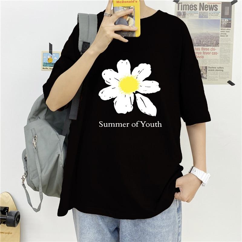 2020 Hong Kong Summer Couple Men and Women Street Fashion Brand Loose T-shirt Top Half Sleeve Haraju