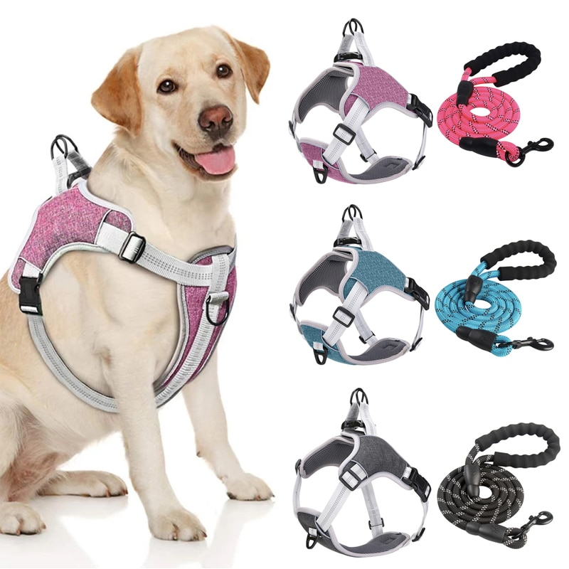 AliExpress - Pet Vest Dog Harness and Leash Set Reflective Breathable Mesh Walking Harnesses Anti Pull For Small Medium Large Dog Supplies
