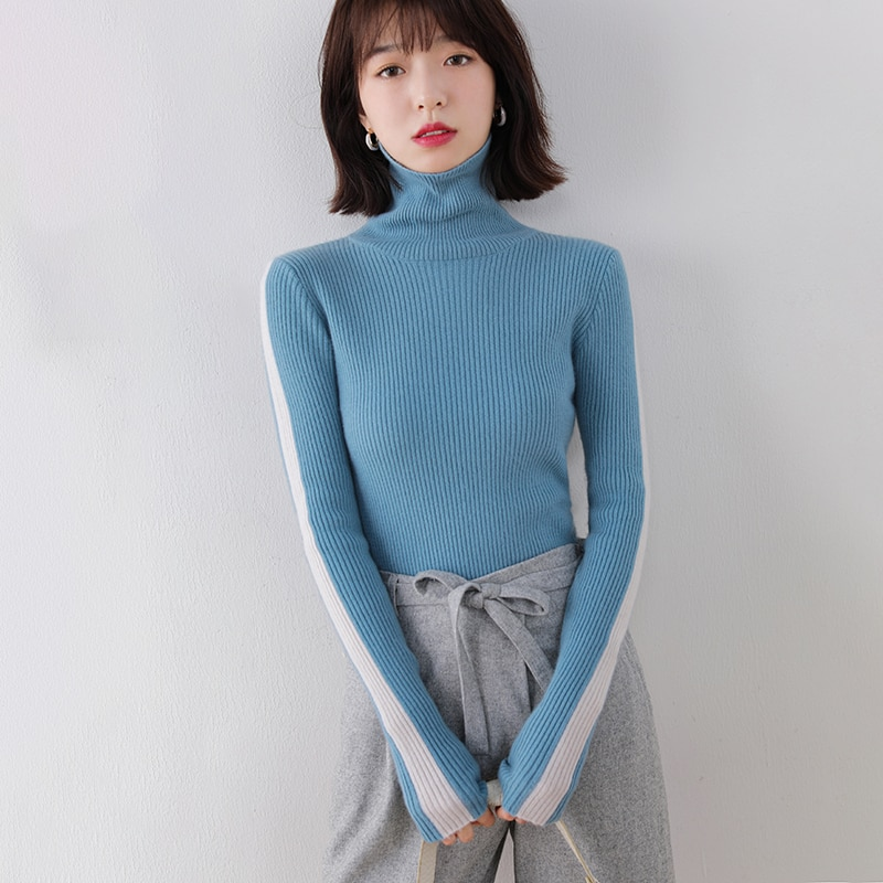 adishree woman winter 100% Cashmere sweaters and autumn knitted Pullovers High Quality Patchwork Female thickening Turtleneck enlarge