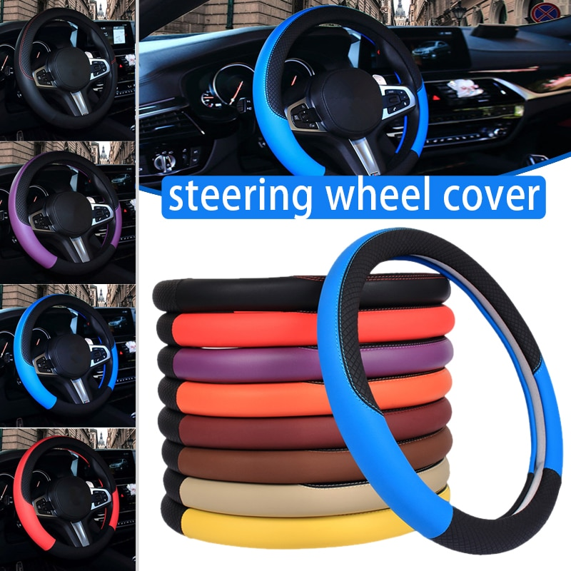 Spot Steering Wheel Cover Anti-Slip Breathable PU Leather Cover for 15Inch Steering Wheel Car Interior Decoration Supply M861