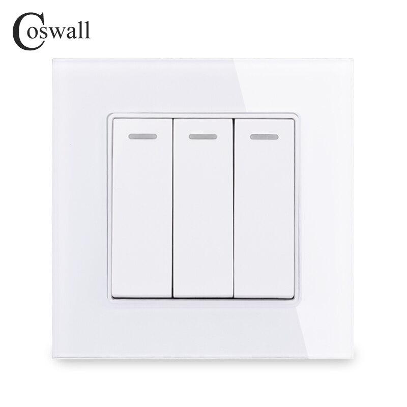 Interruptor de luz de Panel de cristal de lujo cosmall 3 Gang 1 Way, interruptor de pared On / Off 16A