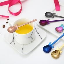 Guitar Shaped Coffee Spoon Create 304 Stainless Steel Coffee Scoop Rose Gold Black Cutlery Teaspoon Coffee Home Cafe Accessories