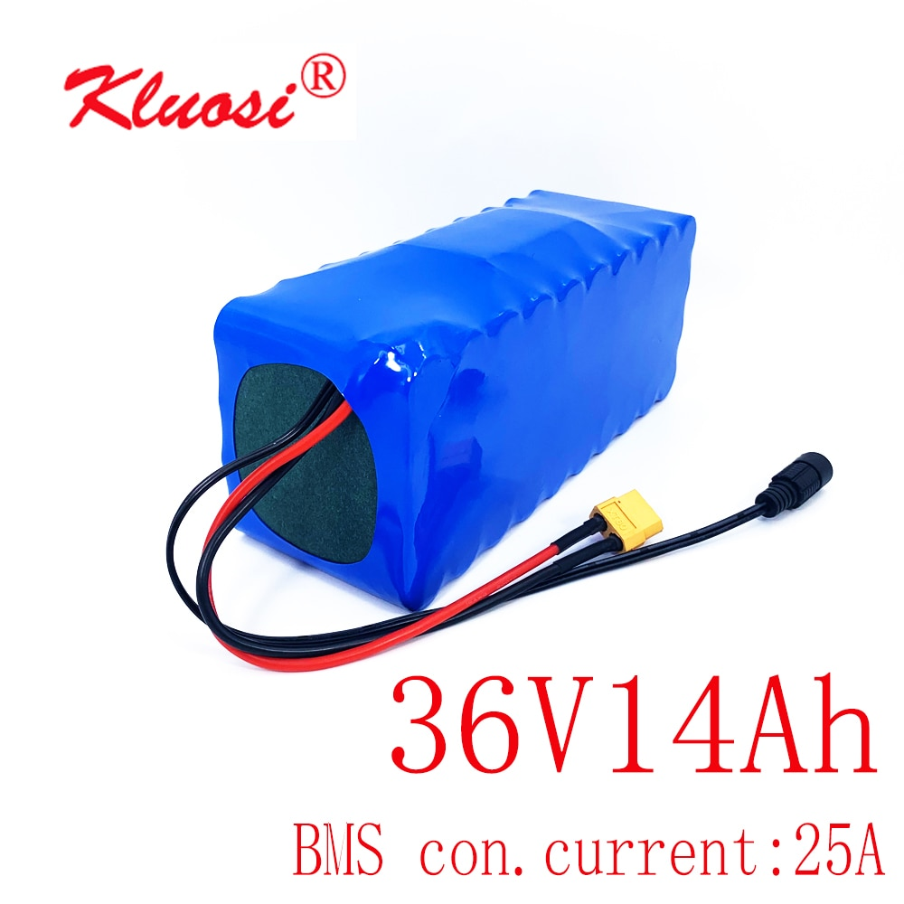 KLUOSI-بطارية ليثيوم للدراجة الكهربائية ، 36V ، 10S4P ، 14Ah ، 42V ، لـ 250W ، 450W ، 750W ، مع BMS توازن 25A