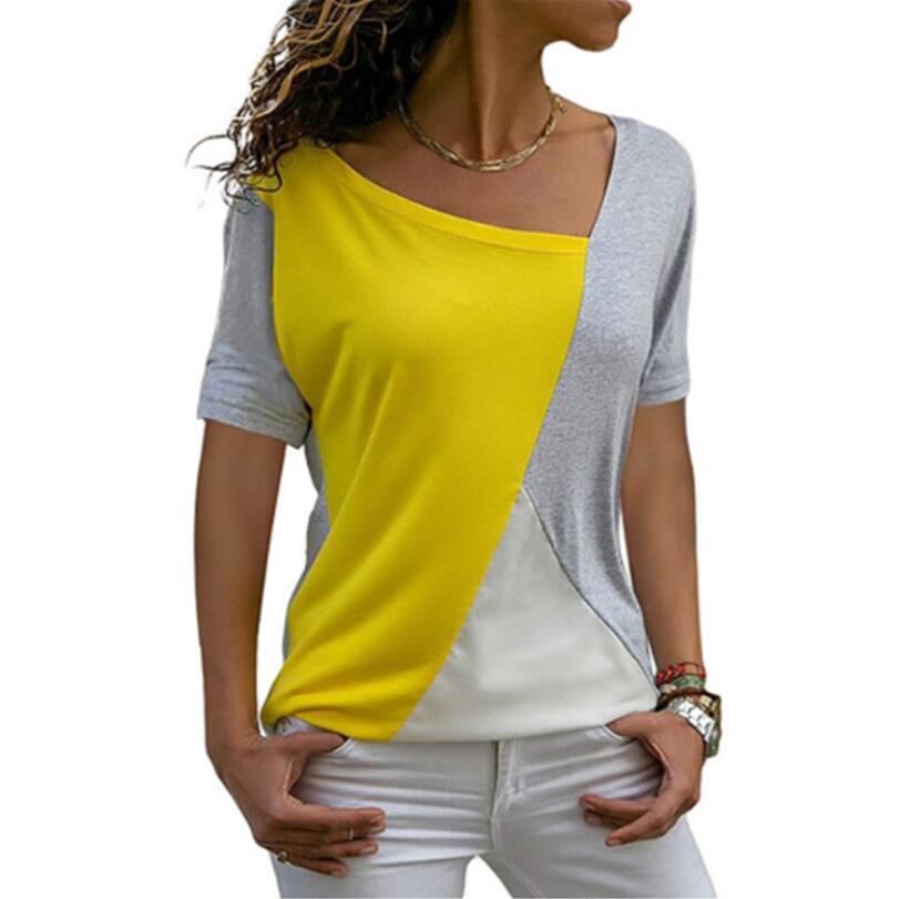 New Coming Thin Summer Casual Women T Shirts Short Sleeve Fashion Patchwork Slim Irregular Women Clothes Long Summer Shirt Tops
