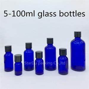 5 мл 10 мл 15 мл 20 мл 30 мл 50 мл 100 мл голубая стеклянная бутылка, голубая бутылка эфирного масла с черной крышкой флакон для духов с винтовой крыш...