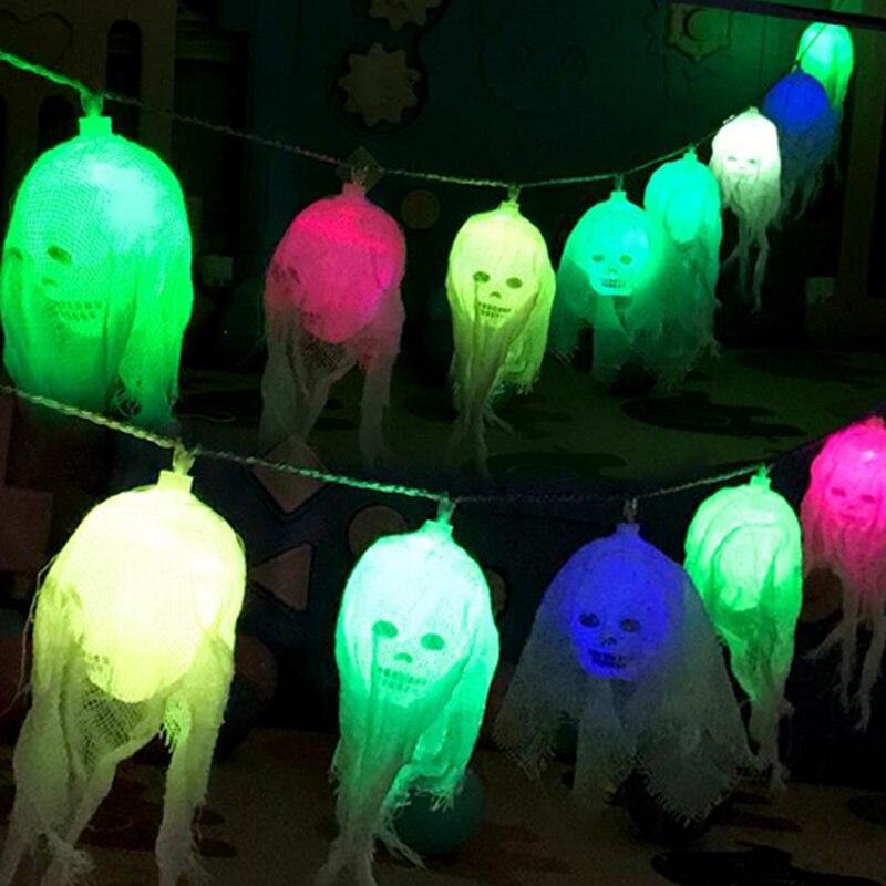 Dia das bruxas Levou Seqüência de Luz Crânio Do Fantasma Luzes Decorativas de Fadas Guirlanda LEVOU Decoração Ao Ar Livre Indoor Alimentado Por Bateria II