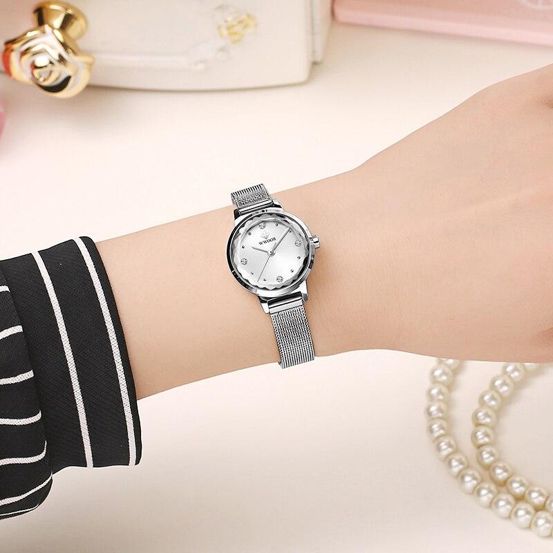 WWOOR Fashion Brand Women Luxury Diamond Bracelet Watch Silver Steel Mesh Quartz Small Wrist Watch Women Clock Montre Femme xfcs enlarge