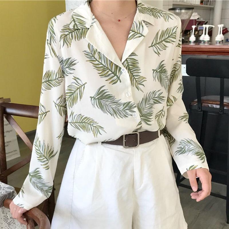 2019 Women Vintage Tops Floral Print Shirts Elegant Long Sleeves Summer Blouse Blusas Femininas