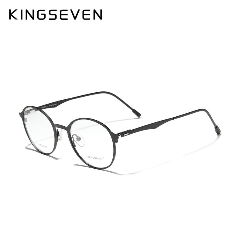 KINGSEVEN 2020 Round Titanium Optical Glasses  Custom Prescription Lenses 1.56 1.61 1.64 Glasses Eye