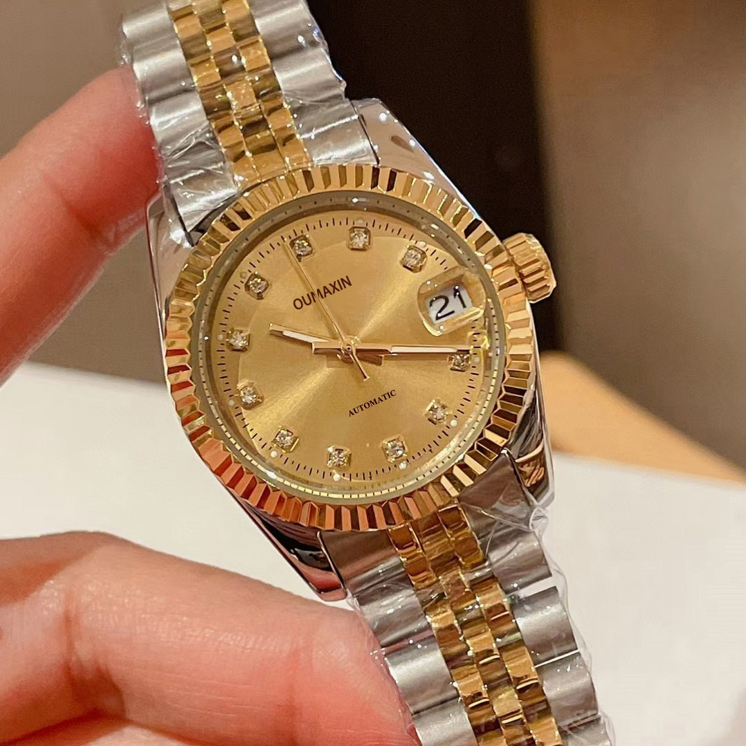 31 mm big brand high quality ladies watch automatic mechanical gold dial import 316L stainless steel B12633 clock enlarge