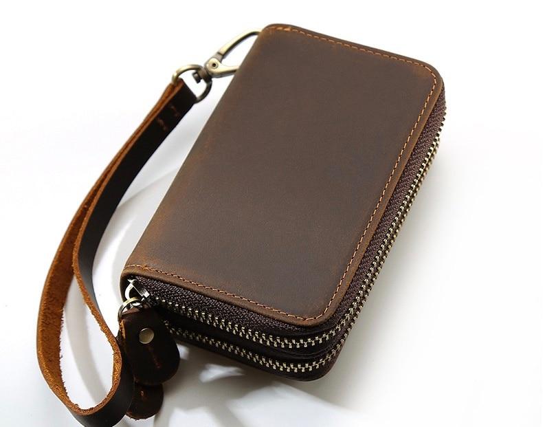 حقيبة مفاتيح جلدية بسحاب مزدوج ، متعددة الوظائف ، حقيبة يد صغيرة