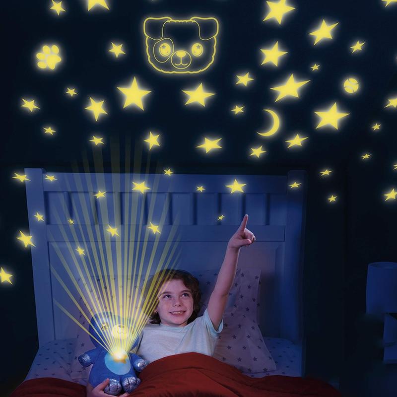 Plush Toy with Starry Projector Dream Night Lights Stuffed Animal Comforting DollStar Sky Light Bedroom Decor Lamp