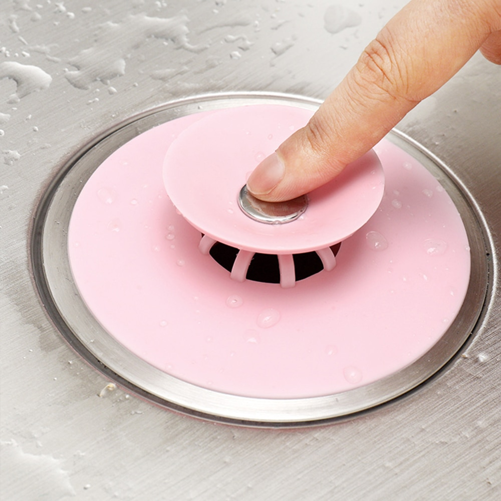 2PCS Silicone Press Type Pool Plug Floor Drain Water Kitchen Filter Bathroom Deodorant Stop Net Universal