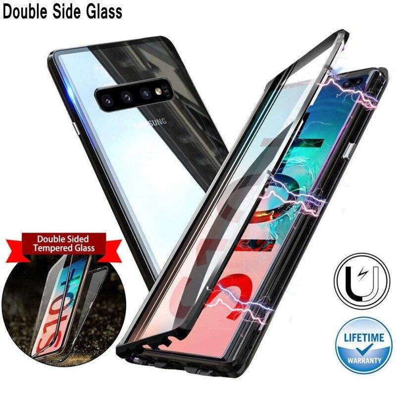 Caso magnético Para Samsung Galaxy Nota 10 S20 Ultra S10 S9 S8 Plus A51 A71 A31 A50 A70 Double Side tampa De Metal De Vidro temperado