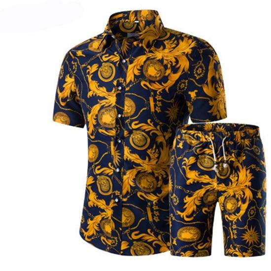 Спортивный костюм мужской из двух предметов, пляжная одежда с узором, рубашка с цветочным принтом и шорты, пляжный костюм спецназа, распродажа