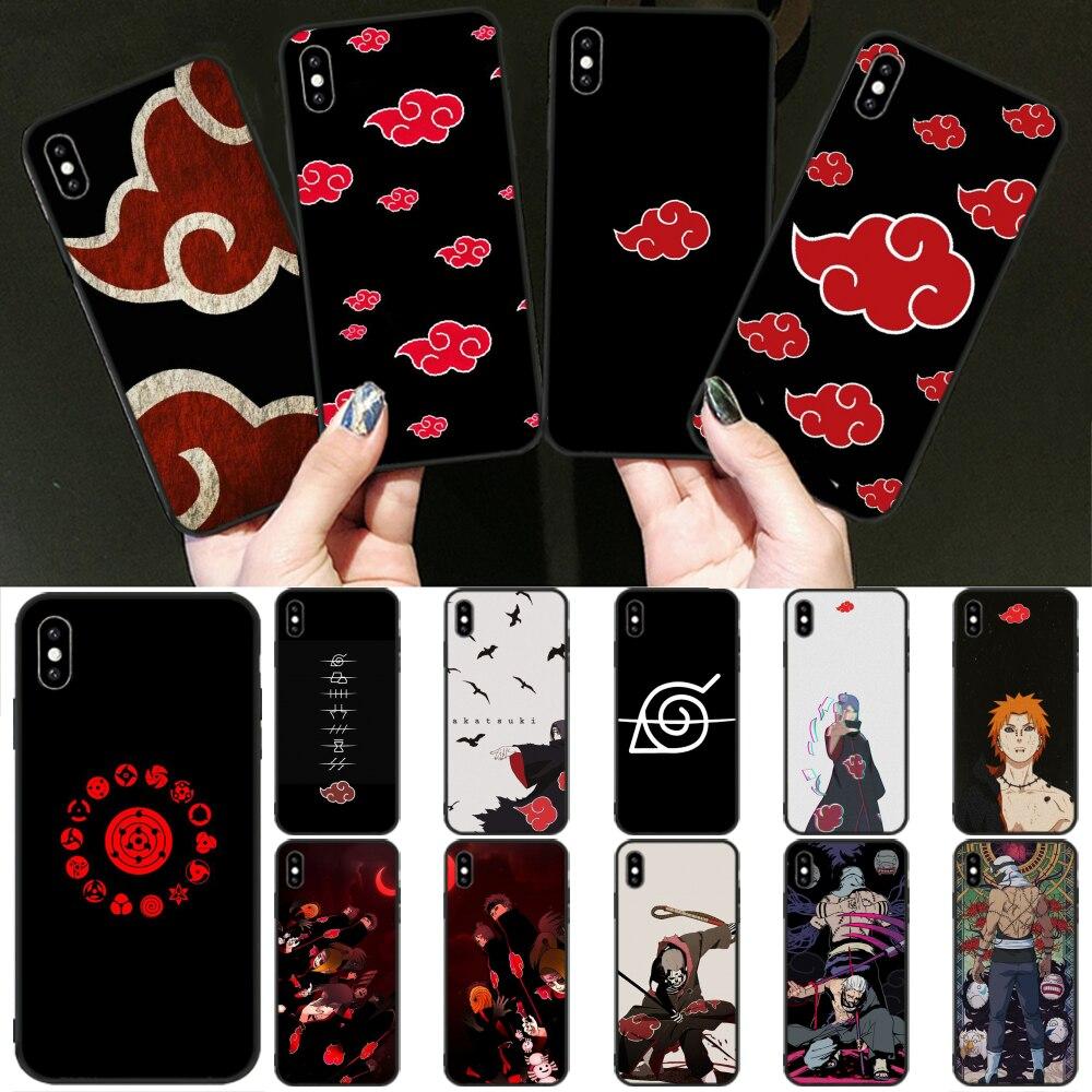 ¡Novedad! Carcasa negra de teléfono móvil de Naruto AKATSUKI de OFFeier para iPhone 11 pro XS MAX 8 7 6 6S Plus X 5 5S SE XR