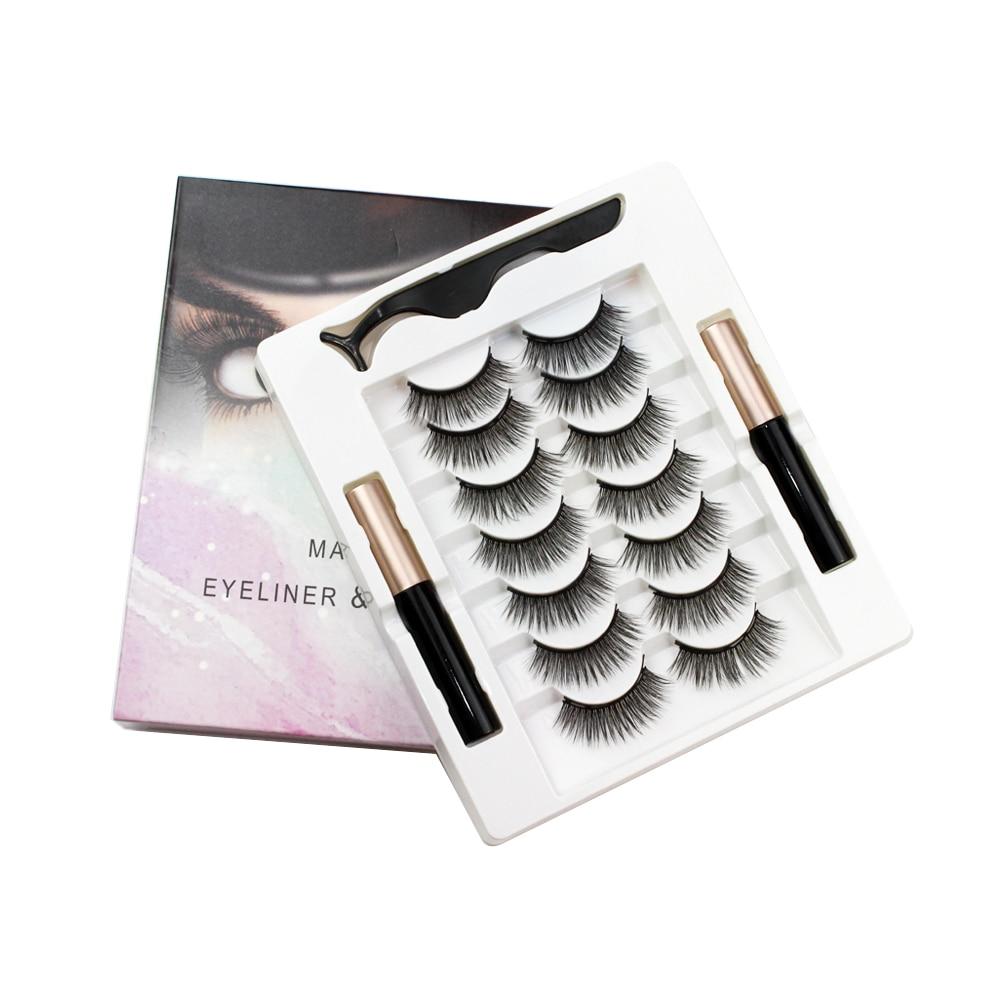 7 pairs 3d eyelashes magnetic Eyeliner& Magnetic False Eyelashes & Tweezer Set Waterproof Long Lasting Eyelash Extension