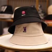 bucket hat men and women embroidery cartoon unisex cap sun protection summer beach wide brim cute gift anime panama hat