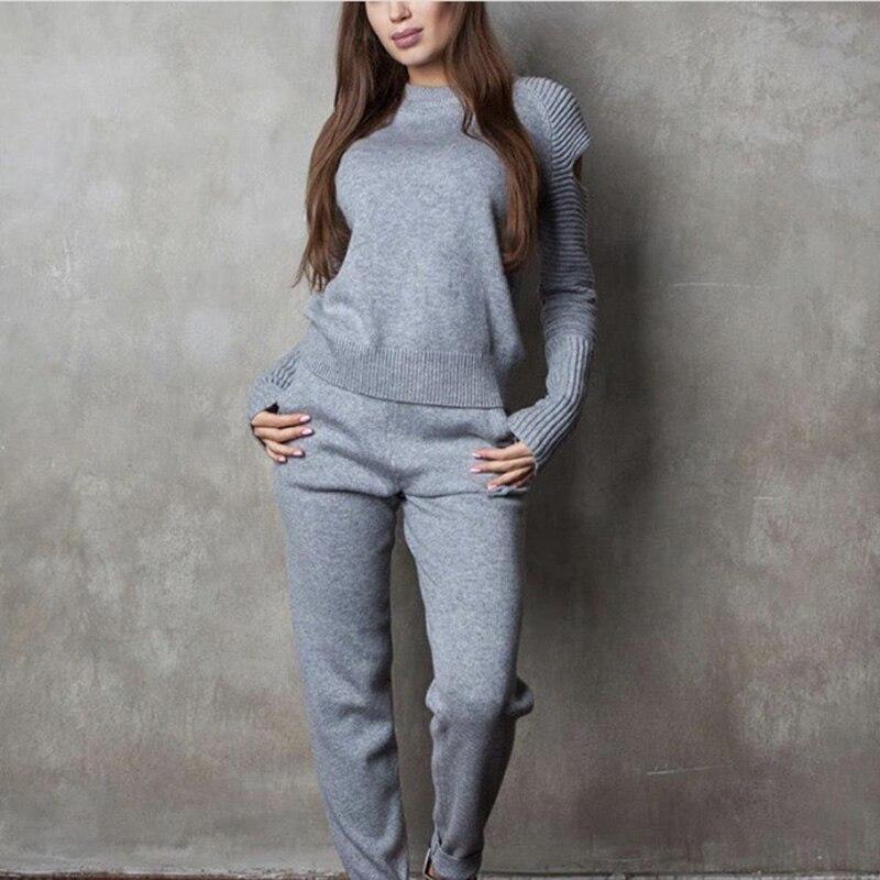 Conjuntos de ternos de camisola feminina 100% algodão traje outono inverno pullovers e calças compridas conjuntos de malha casual 2pcs ternos de camisola