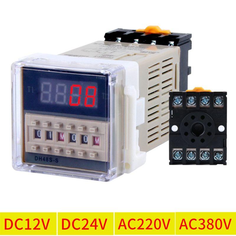 CA/CC 12v-380v DH48S-S relé de tiempo programable control de ciclo retraso w zócalo Base 649E